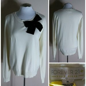 Forever 21   Cream Sweater with Black Bow